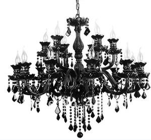 Schwarz Kristall-Kronleuchter im europäischen Stil Wohnzimmer Lampe modernen minimalistischen Schlafzimmer Esszimmer Lampe Villa Kerze Beleuchtung amerikanischen chandelie