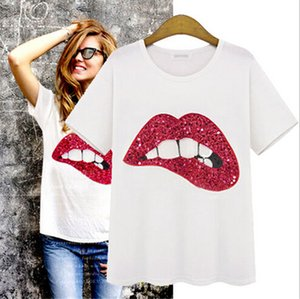 Hecho a mano 2015 Moda Summer Street Labios Camisas Star Short Vestido de mujer Lentejuelas T Beads Cuello Europeo Manga Redonda T-shirts Ibqhh