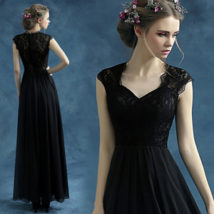 Eelegant Black Lace Evening Dresses 2015 Sweetheart A Line Long Prom Party Gowns Sheer Back Formal Homecoming Dresses TS006