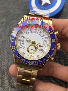 Para hombre de alta calidad reloj de los 44MM 116688 ASIA 2813 Movimiento Blanco Dial brazaletes azul bisel de oro amarillo de 18 quilates brazaletes hombres automáticos del reloj Watche