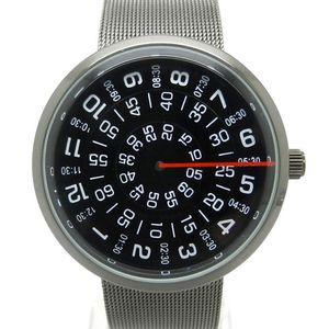 Wholesale-Paidu Black/Silver Quartz Metal Mesh Band Wrist Watch Mens Boy Turntable Dial Digital Gift Wristwatches