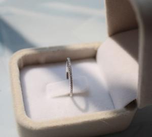 925 Sterling Silber Schöne Vollkristall Stilvolle Frauen Dünne Band Ringe Größe 6 7 8 Hochzeitsfeier Index Fingerring Weibliche Geburtstagsgeschenk