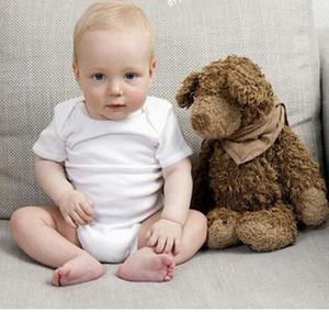 Baby Rompers Suit Summer Infant Triangle Combi-short Onesies 100% coton Bébé à manches courtes vêtements garçon fille blanc pur tailles pleines en stock