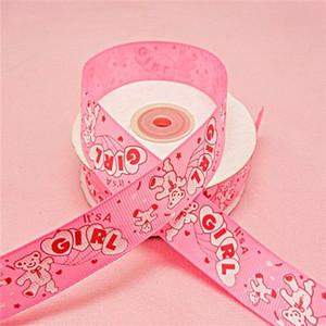 Envío Gratis-7/8 '' (22mm) Ancho 25yards Cerveza de Color Rosa Cinta Impresa Baby Showers Cajas de Regalo del Partido Accesorios de Embalaje