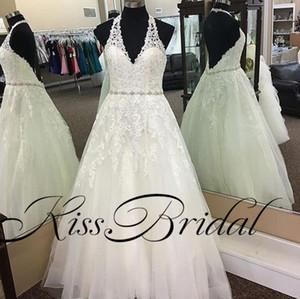 Fotos reais vestidos de casamento do laço uma linha plus size vestidos de noiva halter marfim sem encosto vestidos de recepção de casamento formal