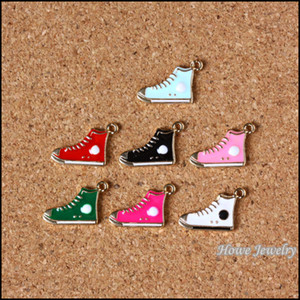 Charms misti smalto colore scarpa pendente in lega di zinco collana braccialetto adatto gioielli fai da te 80 pz / lotto 20 * 12mm JC-742