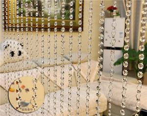 Cortinas de cristal de cristal Boda de moda de lujo y de alto grado con cuentas Cortina Boda caliente de alta calidad del grano del octágono y Garla de cristal delicado