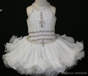 Elegante magdalena blanca para niños pequeños Pagents Vestidos Halter Beaded Princess Bata First Soly Communion Flower Flower Gown Gown para la fiesta de bodas