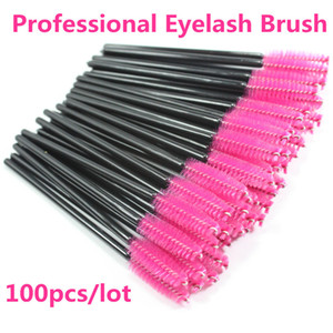 Großhandels-Neue 100pcs / lot Pink Synthetische Faser One-Off Einweg Wimpern Pinsel Mascara Applikator Zauberstab Wimpern Pinsel Make-Up-Tools