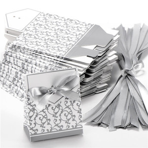 Ribbon Wedding Candy Paper Box Creative Golden Silver Ribbon Wedding Favors Gift Party Candy Paper Box 10 piezas Cajas de dulces Cajas de regalos