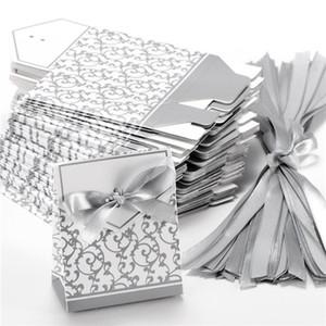 Boîte de papier de bonbons mariage ruban Creative Silver Silver Favors de mariage cadeau de fête cadeau boîte de papier de bonbons 10 Pcs boîtes bonbons boîtes de faveur