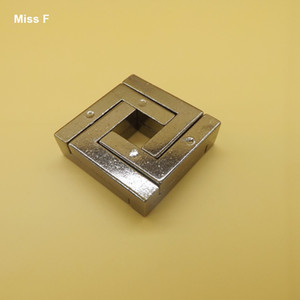 Chinese Metal Cast Ring Puzzle Magic Intelligence Unclasp Square Puzzle Toys Mind Games