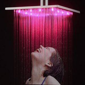 공장 공급 현대 럭셔리 유럽 스타일 샤워 비가 헤드 스퀘어 Showerhead 강우량 수도꼭지와 LED가 빛
