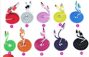 10FT 6 pies de fideos plana Trenza de carga de color del cable de sincronización Tela Micro Wire Cable de datos USB Línea de Samsung S3 S4 S5 Nota 2 3 Blackberry