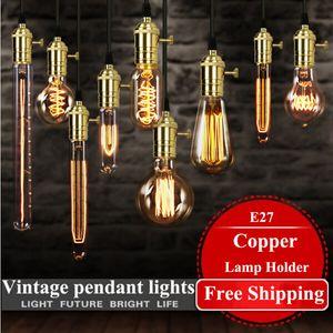 2016 luces vintage colgantes de América lámpara de cobre lámpara de tungsteno lámpara colgante de la industria lámparas de oro / cromo E27 bombilla de filamento W