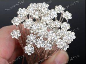 Pins clip strass nuziale cerimonia nuziale del fiore delle perle di cristallo dei capelli della fascia accessori nuziali dei capelli dei diademi dei capelli Pins 5Pcs della Madonna