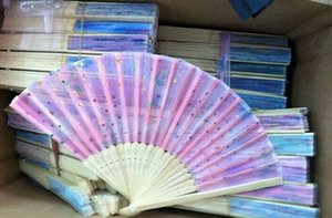 Ventilatori di nozze di bambù piegati a mano di seta cinese di arte del fiore fatto a mano 120pcs fan