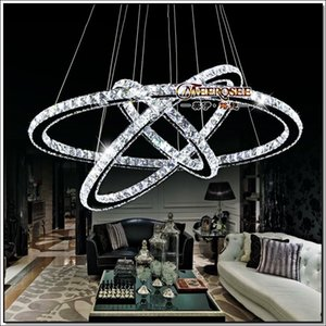3 Rings Crystal LED Chandelier Pendant Light Fixture Crystal Light Lustre Hanging Suspension Light for Dining Room, Foyer, Stairs