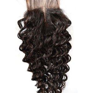 Promosyon Bakire Saç Dantel Kapatma Kamboçyalı Çin İnsan Saç Ipek Kapaklar 4x4 inç Su Dalga Dantel Kapatma silk-W-011