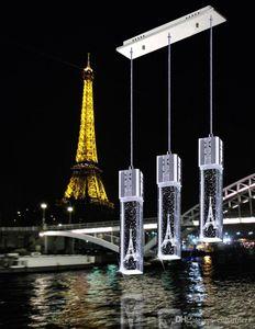 luxo Bolha De Cristal Luz Torre Eiffel Pingente luz Lustres de teto da lâmpada Bar Sala de Jantar dentro branco / branco quente / verde / azul luz