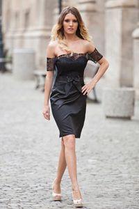 Little Black Cocktail Dresses 2018 sexy fora do ombro rendas / cetim joelho Lengh mulheres partido Evening Formal Wear