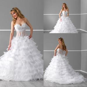 Свадебные платья 2015 Line Милая Часовня Поезд Белый Многоуровневое Органзы Кружева Свадебные Платья Свадебный Иллюзия Топ Корсет