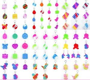 pops its keychain simple dimple mini key ring trinket keyring silicone fidget toy dinosaur mouse bear animal key pendant