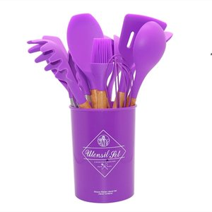Cooking Set Wooden Non Handle Stick Spatula Spoon with Kitchenware Storage Barrel 12 Pieces of Silicone SEA HHC7375