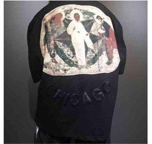 Colección 2021 Jesús CPFM es King T Shirt Black Oversize Jerry Hip Hop Camiseta Religión Pintura al óleo Impreso Impreso de espuma tridimensional Trabajo