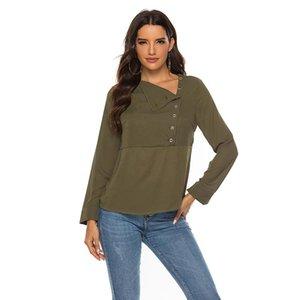 المرأة البلوزات قمصان الشيفون بلوزة 2021 skew طوق مكتب الصلبة قميص طويل الأكمام النساء و القمم عارضة ضئيلة blusas قميص فام