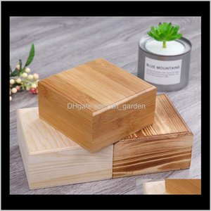 Bins Housekeeping Organization Home & Garden Drop Delivery 2021 50Pcs Lot Square Wooden Solid Wood Jewelry Box Bamboo Storage Boxes 12Dot5Cmx