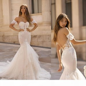 Berta 2019 Mermaid Wedding Dresses Sweetheart Lace Appliques Bridal Gowns Sweep Train Sexy Backless Beach vestidos de noiva