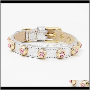 Collars Leashes Luxuries Pet Cat Necklace Accessories Bling Czech Rhinestone Custom Designer Genuiner Leather Dog Crystal Collar 20103 Tcll0