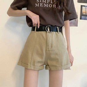 Solid Short Jeans Women Summer Thin High Waist Silm Loose A-line Denim Pants Casual Kawaii Wide Leg Woman Shorts with Sashes 210525