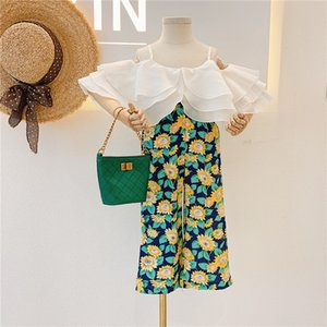 kids Clothing Sets girls Floral outfits children Sling Multi-layer ruffle collar Tops+Flower pants 2pcs set summer fashion Boutique baby clothes Z2792