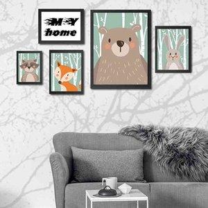 Bambini Cartoon Animal Paintings Carino Bear Fox Coniglio Raccoon Decorazione Decorazione Pitture Soggiorno Poster Decorazione del partito No Frame DBC DH1376