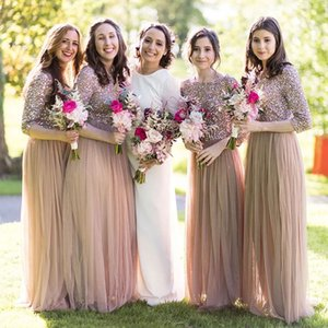 Western Style Floor Length Garden Bridesmaid Dress Peach Colour A Line Sequins Top Spring Summer Maid of Honor Gown Wedding Guest Tailor Made Plus Size Available