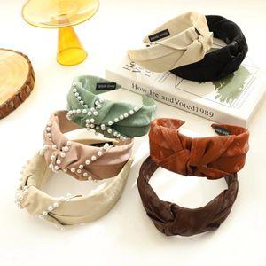 New Fashion Women Headband Wide Side Pearls Hairband Adult Center Knot Headwear Turban Hair Accessories Wholesale