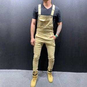 Dropshipping New Mens Fashion Khaki Camouflage Denim Bib Bib Pantaloni complessivi Pantaloni Jeans Stretch Jeans Pantaloni da uomo Vintage Streetwear Sultsuitsuit
