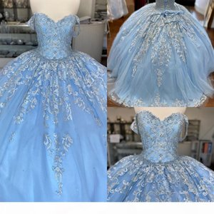 Baby Blue Lace Tulle Sweet 16 Dresses Off The Shoulder Floral Applique Tulle Beaded Corset Back Vestidos De Quinceanera Ball Gowns Prom
