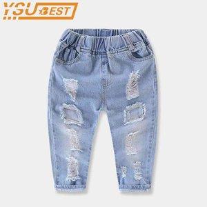 Erkek yırtık kot moda marka büyük delik kot elastik bel katı denim ince bebek erkek kot yepyeni bebek denim pantolon 210331