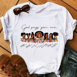يقول الله إنك رجل القمصان والنساء ملكات سوداء طباعة فتاة ملابس رسومات الصيف تيز ميلانين حياة المسألة
