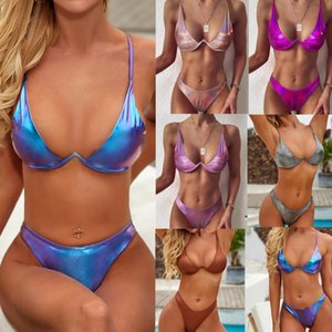 Brazil Sexy Split Swimsuit 2021 Steel Support Gather Bright Color Beach Seaside Vacation Women 2 Pieces Women's Swimwear