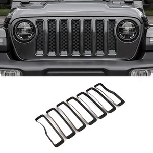 CarMango for Jeep Wrangler 2018-2021 Auto Car Accessories Front Grille Grills Trim Cover Pad Sticker Frame Exterior Decoration