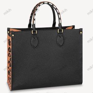 Fashion womens bag outdoor ladies totes bags classic logo embossed cheetah print design large capacity 35CM high quality handbag purse