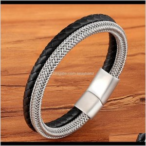 Charm Bracelets Tyo Stainless Steel Wire Cable Magnetic Clasp Double Layered Braided Genuine Leather Chain Bracelet Mens Women Jewelry Ve0C2