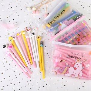 20pcs set Gel Pen 0.5mm Black Random Partten Pens Sets Stationery School Supplies Office Suppliers Kids Gifts 0408