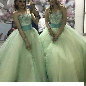 Princess Sage Ball Gown Quinceanera Dresses 2021 Sweet 16 Dresses Beaded Sequins Strapless Debutante Gowns Plus Size Vestidos De 15