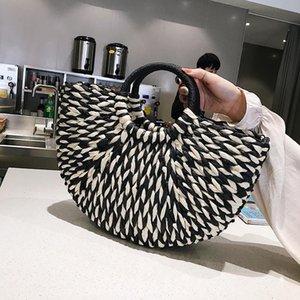 casual rattan half moon women handbags designer summer beach straw bags wicker woven large totes ladies travel purses bali bag C0326