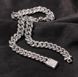10mm Baguette Kubanische Verbindung Kette Armband Herren Weißgold Iced Diamant Cubic Zirkon Choker Halskette Hip Hop Schmuck 7-22inch